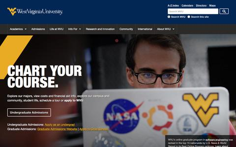 Screenshot of Home Page wvu.edu - West Virginia University - captured Feb. 3, 2018