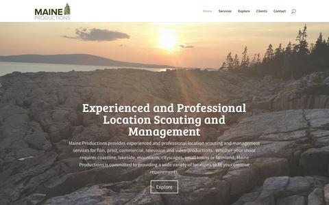 Screenshot of Home Page maineproductions.com - Location Scouting - Maine Productions - Serving Maine and Beyond - captured May 25, 2017