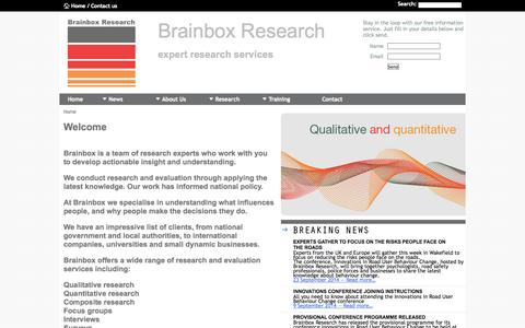 Screenshot of Services Page brainboxresearch.com - Brainbox Research - Qualitative Research, Quantitative Research, Marketing and Training - captured Sept. 30, 2014