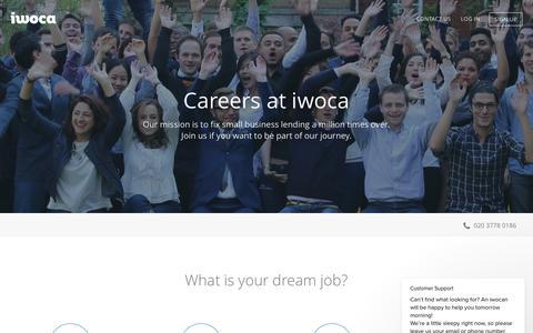 Screenshot of Jobs Page iwoca.co.uk - iwoca says… - captured July 20, 2018