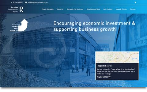 Screenshot of Home Page investinrochdale.co.uk - Rochdale Development Agency - Home - captured Dec. 3, 2016