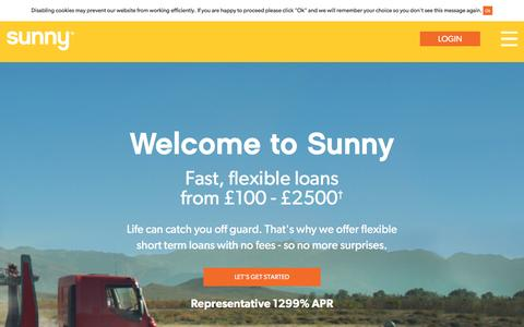 Screenshot of Support Page sunny.co.uk - Sunny.co.uk: Short Term Loan Alternative With No Fees - captured Aug. 16, 2016