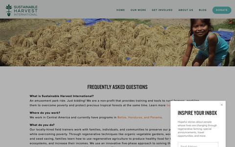Screenshot of FAQ Page sustainableharvest.org - FAQ — SHI - Sustainable Agriculture + Organic Farming for Poverty Alleviation - captured Oct. 18, 2018