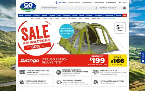 Screenshot of Home Page gooutdoors.co.uk - GO Outdoors | Outdoor Clothing | Walking Boots | Winter Coats - captured Aug. 12, 2018