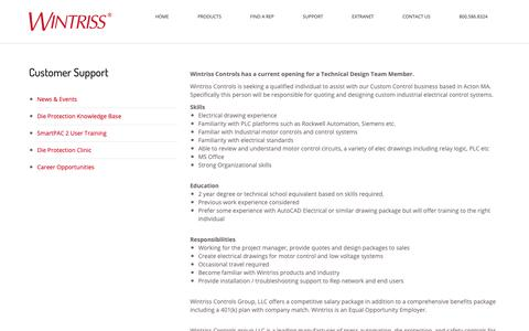 Screenshot of Jobs Page wintriss.com - Career Opportunities - Wintriss Controls Group - captured Nov. 19, 2018
