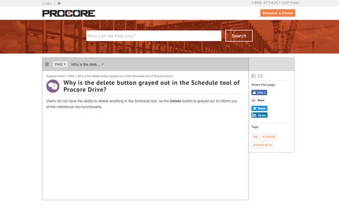 Why is the delete button grayed out in the Schedule tool of Procore Drive? - Procore
