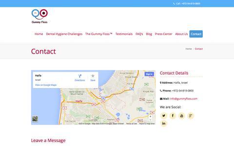Screenshot of Contact Page gummyfloss.com - Contact | Gummy Floss™ - captured Sept. 30, 2014