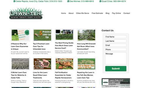 Screenshot of Blog lawn-tek.com - Lawn Care Service Landscaping Blog Tips Maintenance Ideas - captured March 12, 2016