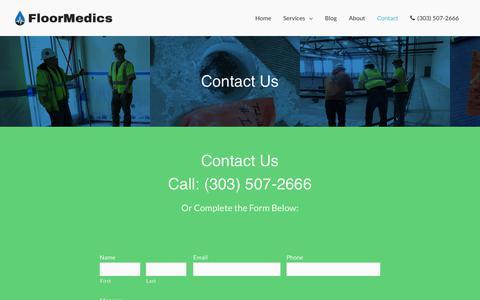 Screenshot of Contact Page floormedics.com - Contact Floor Medics (303) 507-2666 - captured April 17, 2019