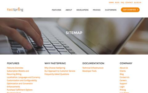 Screenshot of Site Map Page fastspring.com - FastSpring Sitemap - captured Aug. 22, 2016