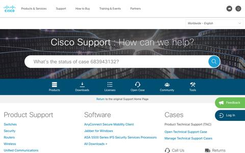 Screenshot of Support Page cisco.com - Cisco Support - captured July 14, 2018