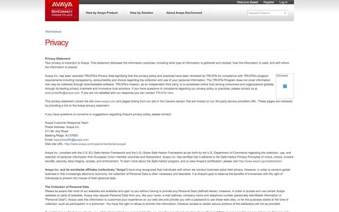 Screenshot of Privacy Page devconnectmarketplace.com - Avaya DevConnect Marketplace - captured March 29, 2016