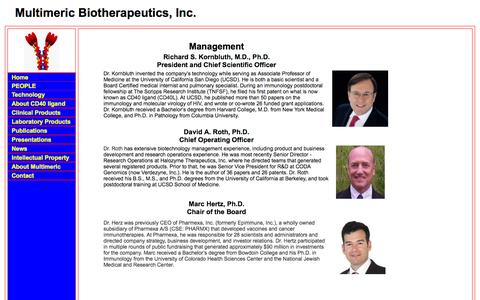 Screenshot of Team Page multimericbio.com - Multimeric Biotherapeutics  ... Unlocking the potential of the TNF SuperFamily Ligands - captured Oct. 7, 2014