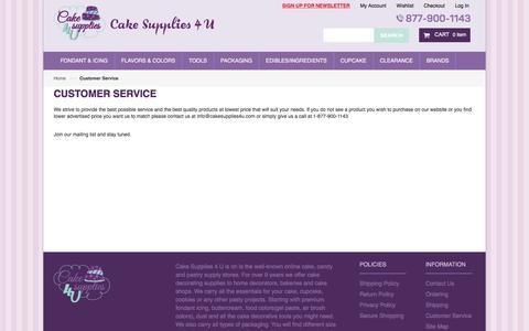 Screenshot of Support Page cakesupplies4u.com - Customer Service - captured April 10, 2017
