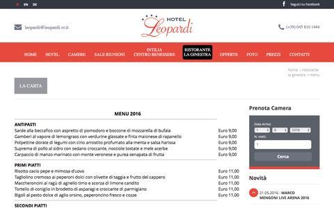 Screenshot of Menu Page leopardi.vr.it - menu piatti - captured May 31, 2016