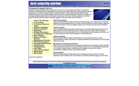 Screenshot of Services Page daviscomputing.com - Davis Computing Solutions - captured Oct. 5, 2014