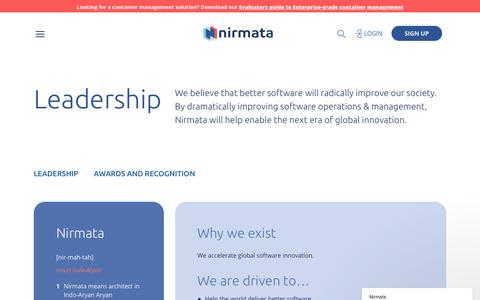 Screenshot of Team Page nirmata.com - Leadership | nirmata - captured Sept. 21, 2018