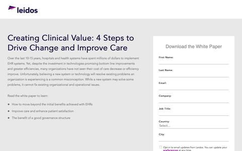 Screenshot of Landing Page leidos.com - White Paper: Creating Clinical Value | Leidos Health - captured Jan. 29, 2019