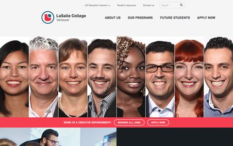 Screenshot of Jobs Page lasallecollegevancouver.com - | LaSalle College In Vancouver, BC, Canada | Design School - captured May 13, 2017