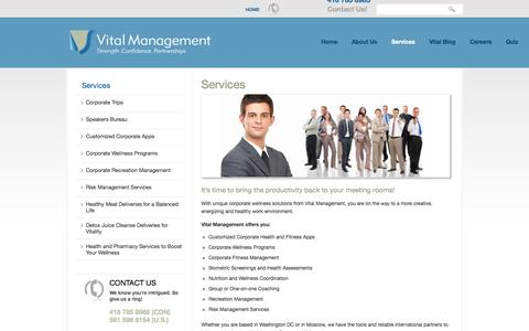 Screenshot of Services Page vitalmanagementinc.com - Customized Corporate Health & Fitness Apps, Wellness Programs, Risk Management Services, Biometric Screenings & Health Assessments | Vital Management - captured Oct. 9, 2014