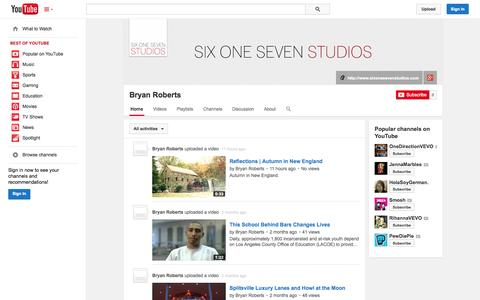 Screenshot of YouTube Page youtube.com - Bryan Roberts  - YouTube - captured Oct. 26, 2014