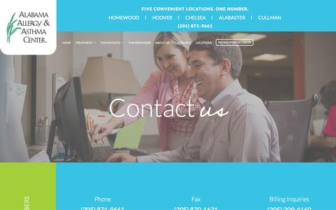 Screenshot of Contact Page alabamaallergy.com - Contact the Alabama Allergy & Asthma Center - captured Feb. 5, 2016