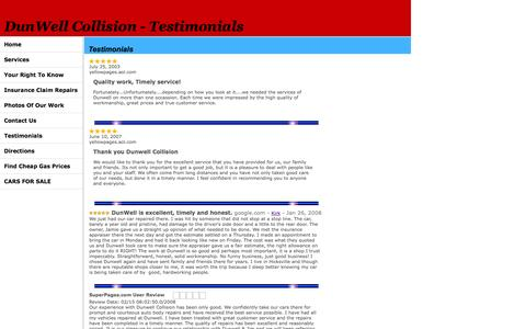 Screenshot of Testimonials Page dunwellcollision.com - DunWell Collision - captured Sept. 30, 2014