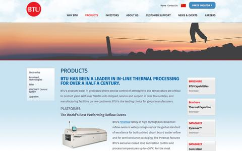 Screenshot of Products Page btu.com - Thermal Processing Products | BTU - captured Feb. 7, 2016