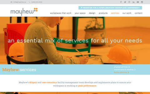 Screenshot of Services Page mayhew.ca - Services - Mayhew Inc. - captured July 13, 2018