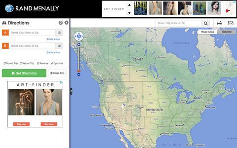 Screenshot of Maps & Directions Page randmcnally.com - Rand McNally Driving Directions and Maps - captured Jan. 13, 2016