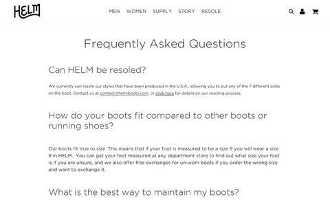 HELM Boots FAQ