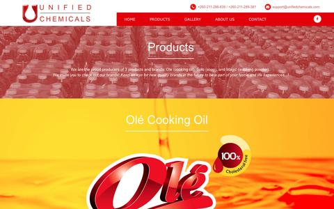 Screenshot of Products Page unifiedchemicals.com - Unified Chemicals :: PRODUCTS - captured June 17, 2017