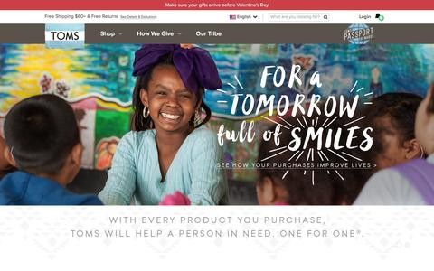 Screenshot of Home Page toms.com - The One for One Company | TOMS - captured Feb. 6, 2016