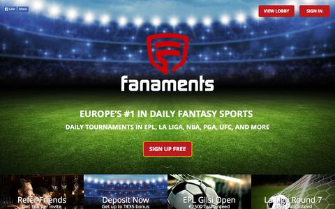Screenshot of Home Page fanaments.com - Fanaments - captured Oct. 2, 2015