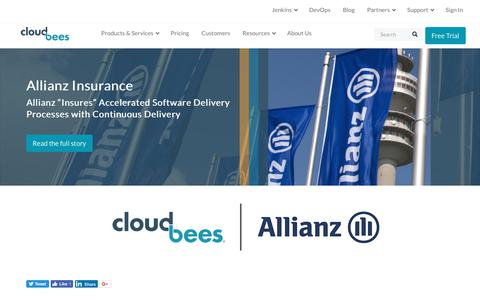 "Screenshot of Case Studies Page cloudbees.com - Allianz ""Insures"" Accelerated Software Delivery Processes with Continuous Delivery 