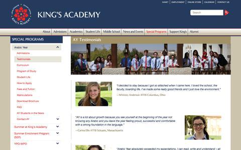 Screenshot of Testimonials Page kingsacademy.edu.jo - Testimonials | King's Academy - captured June 9, 2017