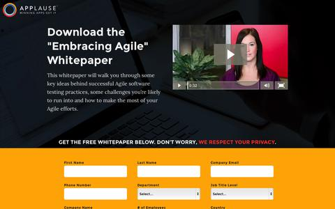Screenshot of Landing Page applause.com - Agile Testing Whitepaper - Applause: 360Ą App Quality - captured Oct. 27, 2015
