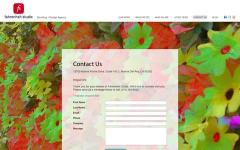 Screenshot of Contact Page fahrenheit.com - Contact Us - Fahrenheit Studio - captured Oct. 1, 2014