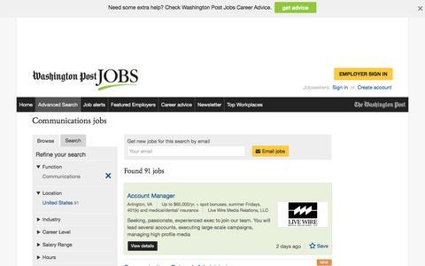 Screenshot of Jobs Page washingtonpost.com - Communications jobs - captured Oct. 19, 2016