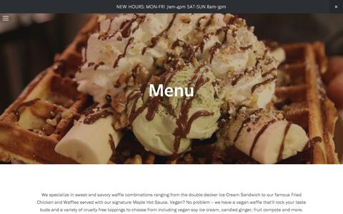 Screenshot of Menu Page wafflefrolic.com - Menu — - captured Sept. 30, 2016