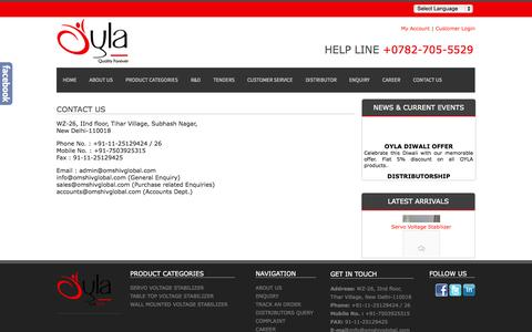 Screenshot of Contact Page oylaindia.com - Contact us - Oyla India - captured Oct. 29, 2014