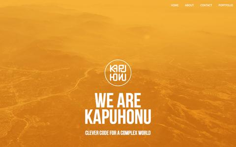 Screenshot of Home Page kapuhonu.com - Kapuhonu – Clever code for a complex world - captured Feb. 12, 2016