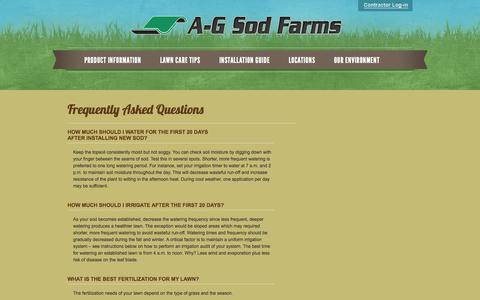 Screenshot of FAQ Page agsod.com - Lawn, Turf, Sod, Grass Care FAQs   A-G Sod Farms California Colorado - captured Oct. 8, 2014