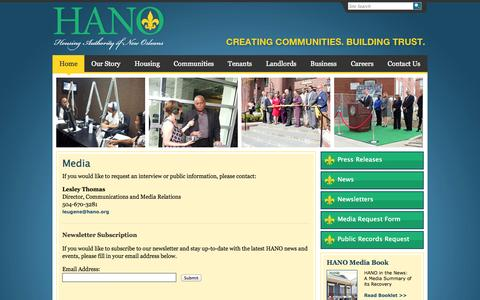 Screenshot of Press Page hano.org - Media :: Housing Authority of New Orleans - captured Oct. 2, 2014