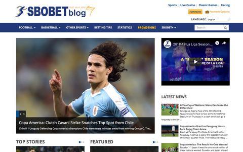 Screenshot of Blog sbobet.com - SBOBET | Betting Odds, Sports News, Bet Picks from SBOBET Blog - captured June 25, 2019