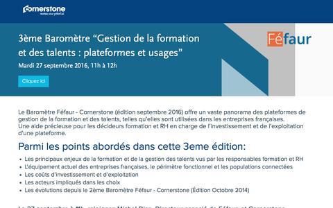 """Screenshot of Landing Page cornerstoneondemand.com - Webinar - Enseignements du 3ème Baromètre """"Gestion de la formation et des talents : plateformes et usages"""" (Féfaur - Cornerstone) - captured Oct. 29, 2016"""