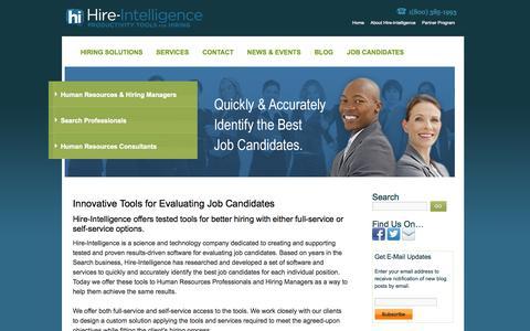 Screenshot of Home Page hire-intelligence.com - Hire-Intelligence | Job Candidate Screening and Assessment - captured Sept. 16, 2014