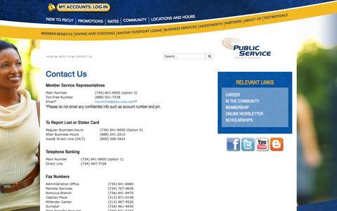Screenshot of Contact Page pscunow.com - Contact Us - captured Nov. 2, 2014