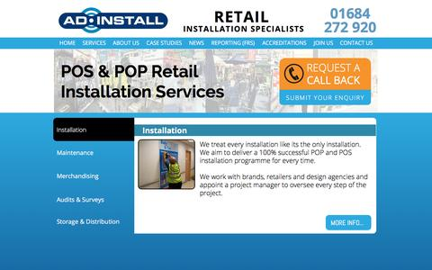 Screenshot of Services Page adinstall.co.uk - POS & POP | Point of Sale Retail Installation Services - captured Dec. 23, 2015