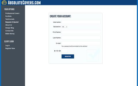 Screenshot of Signup Page absolutecovers.com - AbsoluteCovers.com Project Manager - captured Oct. 7, 2017